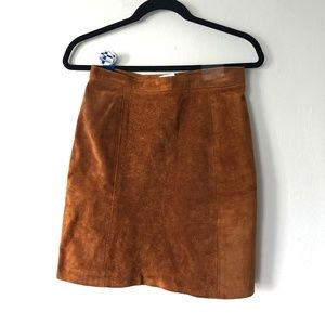 Vintage Light Brown High-waisted Suede Skirt